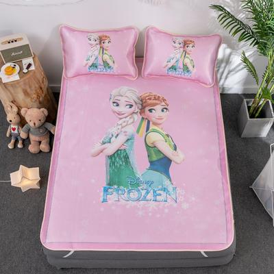 新款正版授权迪士尼数码印花冰丝席三件套卡通空调软席儿童学生宿舍折叠席 1.2m(4英尺)床 冰雪公主-粉