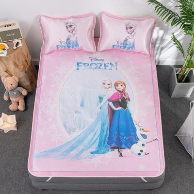 新款正版授权迪士尼数码印花冰丝席三件套卡通空调软席儿童学生宿舍折叠席 1.35m(4.5英尺)床 冰雪奇缘