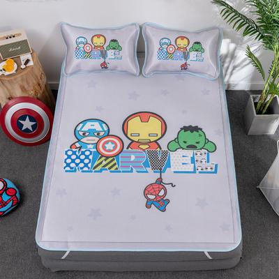 新款正版授权迪士尼数码印花冰丝席三件套卡通空调软席儿童学生宿舍折叠席 1.2m(4英尺)床 漫威
