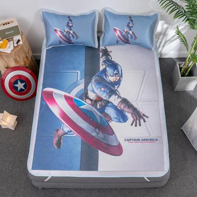 新款正版授权迪士尼数码印花冰丝席三件套卡通空调软席儿童学生宿舍折叠席 1.2m(4英尺)床 美国队长