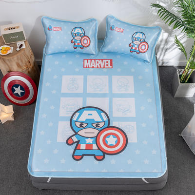 新款正版授权迪士尼数码印花冰丝席三件套卡通空调软席儿童学生宿舍折叠席 1.2m(4英尺)床 萌版美队