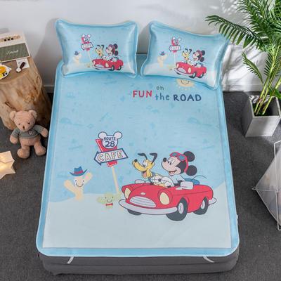 新款正版授权迪士尼数码印花冰丝席三件套卡通空调软席儿童学生宿舍折叠席 1.2m(4英尺)床 汽车米奇