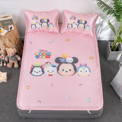 新款正版授权迪士尼数码印花冰丝席三件套卡通空调软席儿童学生宿舍折叠席 1.2m(4英尺)床 松松家族