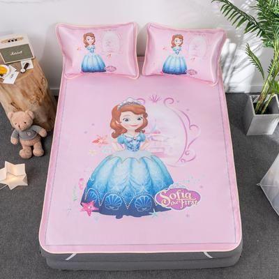 新款正版授权迪士尼数码印花冰丝席三件套卡通空调软席儿童学生宿舍折叠席 1.2m(4英尺)床 索菲亚公主