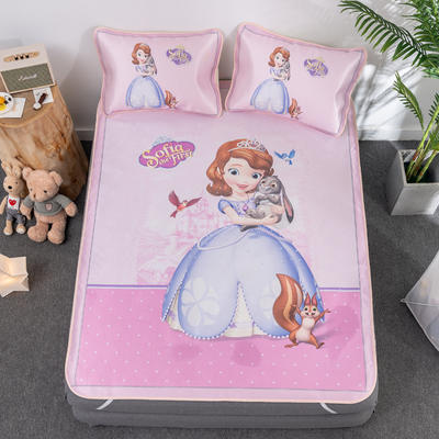 新款正版授权迪士尼数码印花冰丝席三件套卡通空调软席儿童学生宿舍折叠席 1.2m(4英尺)床 索菲亚兔子