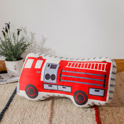 新款数码印花立体款卡通抱枕动植物飞机玩具小汽车儿童可爱小礼物 35x50cm(按实物为准) 立体款-消防车