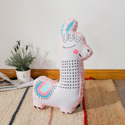 新款数码印花立体款卡通抱枕动植物飞机玩具小汽车儿童可爱小礼物 35x50cm(按实物为准) 立体款-羊驼
