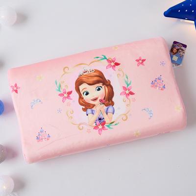 新款迪士尼儿童乳胶枕泰国天然学生慢回弹幼儿园小学生记忆枕宝宝枕 苏菲亚公主-粉色(小号)