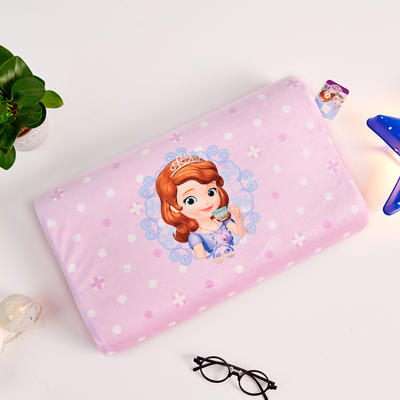 新款迪士尼儿童乳胶枕泰国天然学生慢回弹幼儿园小学生记忆枕宝宝枕 苏菲亚公主-紫色(小号)