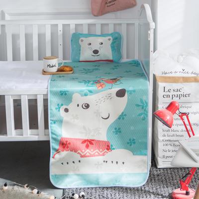 新款婴幼儿冰丝席三件套幼儿园专用宝宝凉席夏季透气午睡席 60*120cm 北极熊