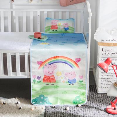 新款婴幼儿冰丝席三件套幼儿园专用宝宝凉席夏季透气午睡席 60*120cm 彩虹佩奇