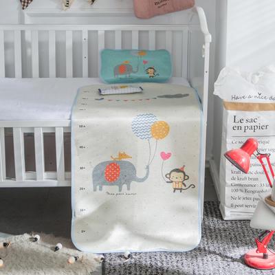 新款婴幼儿冰丝席三件套幼儿园专用宝宝凉席夏季透气午睡席 60*120cm 大象