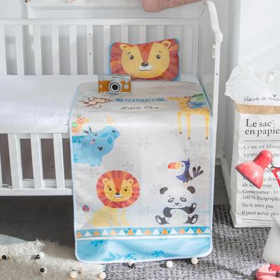 新款婴幼儿冰丝席三件套幼儿园专用宝宝凉席夏季透气午睡席 60*120cm 动物乐园