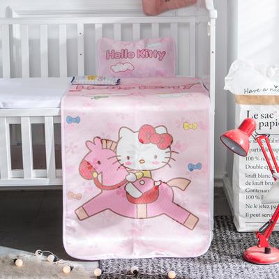 新款婴幼儿冰丝席三件套幼儿园专用宝宝凉席夏季透气午睡席 60*120cm 木马KT