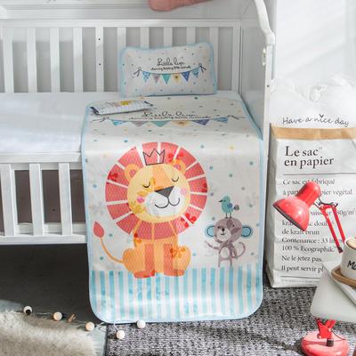 新款婴幼儿冰丝席三件套幼儿园专用宝宝凉席夏季透气午睡席 60*120cm 狮子