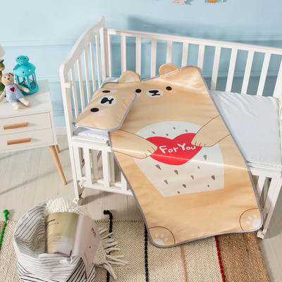 新款婴幼儿立体冰丝席三件套幼儿园专用宝宝凉席夏季透气午睡席 60*120cm 爱心熊