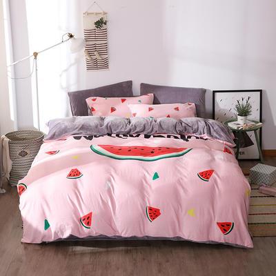 新款数码印花牛奶绒四件套-时尚 1.8m床单款 缤纷浪漫