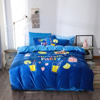 新款数码印花牛奶绒四件套-时尚 1.8m床单款 彩虹甜心