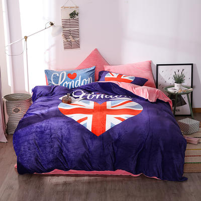 新款数码印花牛奶绒四件套-时尚 1.8m床单款 我爱伦敦