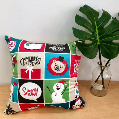 新款圣诞快乐抱枕 45x45cm 圣诞快乐2