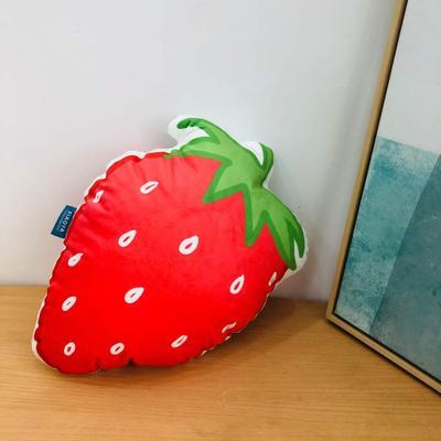 新款数码印花立体款卡通抱枕动植物飞机玩具小汽车儿童可爱小礼物 35x50cm(按实物为准) 草莓