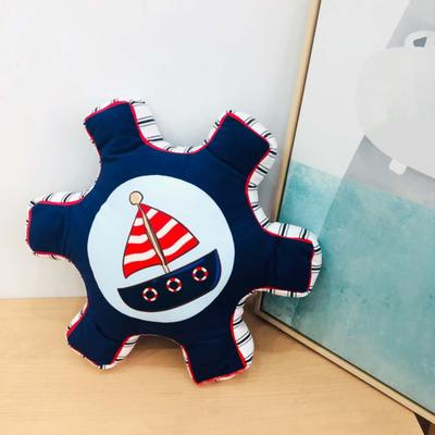 新款数码印花立体款卡通抱枕动植物飞机玩具小汽车儿童可爱小礼物 35x50cm(按实物为准) 船舵