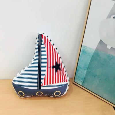 新款数码印花立体款卡通抱枕动植物飞机玩具小汽车儿童可爱小礼物 35x50cm(按实物为准) 帆船