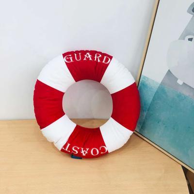 新款数码印花立体款卡通抱枕动植物飞机玩具小汽车儿童可爱小礼物 35x50cm(按实物为准) 救生圈-红