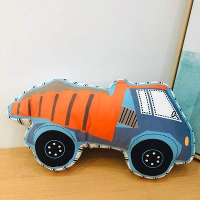 新款数码印花立体款卡通抱枕动植物飞机玩具小汽车儿童可爱小礼物 35x50cm(按实物为准) 泥土车
