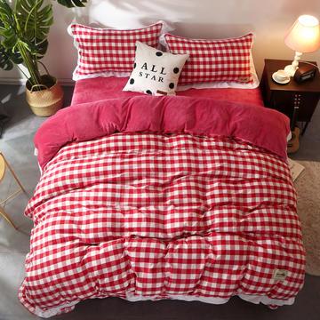 2018新款水洗色织加绒保暖四件套 1.2m(4英尺)床 红白中格