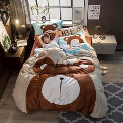 2018新款-5D雕花绒大版四件套 1.5m(5英尺)床 咖啡熊