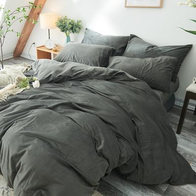 2019新款-北欧无印良品天鹅绒单品枕套 48cmX74cm/对 炭灰色(2号)