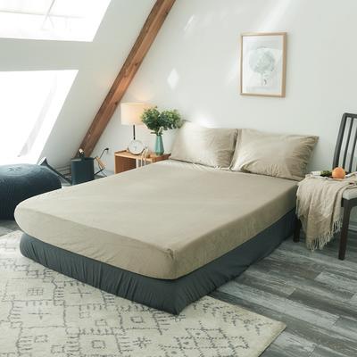 2019新款-北欧无印良品天鹅绒单品床笠 120cmx200cm 米   色(1号)