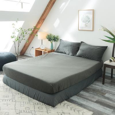 2019新款-北欧无印良品天鹅绒单品床笠 120cmx200cm 炭灰色(2号)
