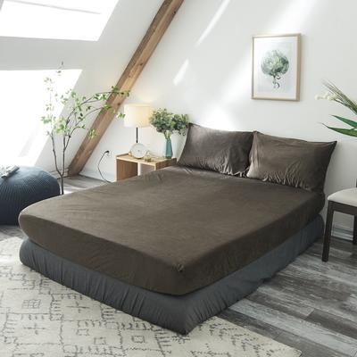 2019新款-北欧无印良品天鹅绒单品床笠 120cmx200cm 咖啡 色(6号)