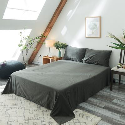 2019新款-北欧无印良品天鹅绒单品床单 160cmx230cm 炭灰色(2号)