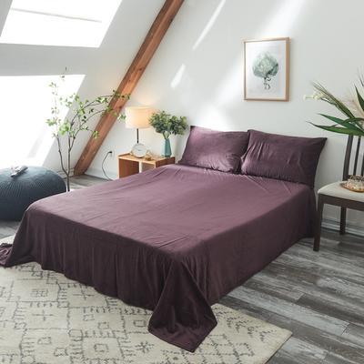 2019新款-北欧无印良品天鹅绒单品床单 160cmx230cm 紫   色(3号)