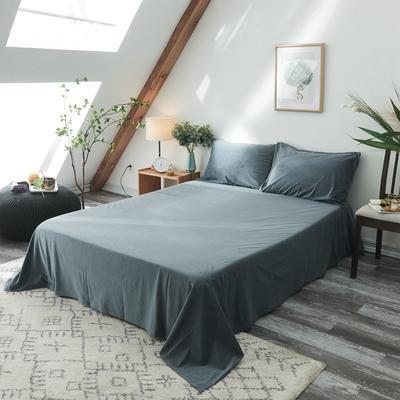 2019新款-北欧无印良品天鹅绒单品床单 160cmx230cm 雾蓝色(4号)