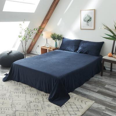2019新款-北欧无印良品天鹅绒单品床单 160cmx230cm 绅士蓝(5号)