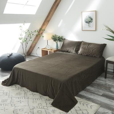 2019新款-北欧无印良品天鹅绒单品床单 160cmx230cm 咖啡 色(6号)