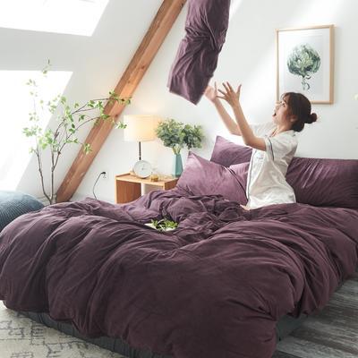 2019新款-北欧无印良品天鹅绒床笠款四件套 1.2m(4英尺)床 紫   色(3号)