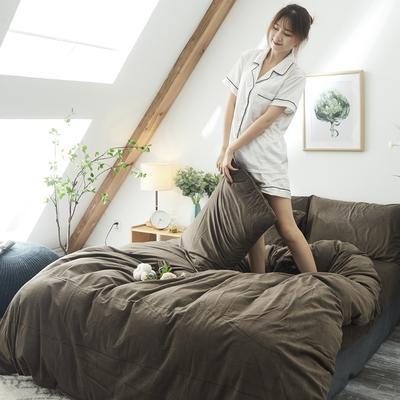 2019新款-北欧无印良品天鹅绒床笠款四件套 1.2m(4英尺)床 咖啡 色(6号)