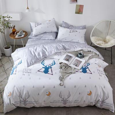 2019新款-全棉印花三件套四件套 1.5m(5英尺)床 绅士麋鹿
