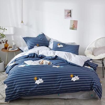 2019新款-全棉印花三件套四件套 1.5m(5英尺)床 蔚蓝之都