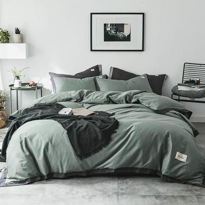 2019新款-北欧简约风全棉色布拼角四件套 1.2m(4英尺)床 简爱-抹茶绿