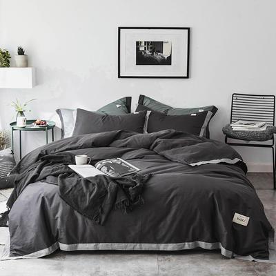 2019新款-北欧简约风全棉色布拼角四件套 1.2m(4英尺)床 简爱-棕