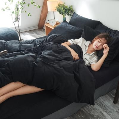 2019新款-北欧无印良品天鹅绒床笠款四件套 1.2m(4英尺)床 纯   黑(14号)