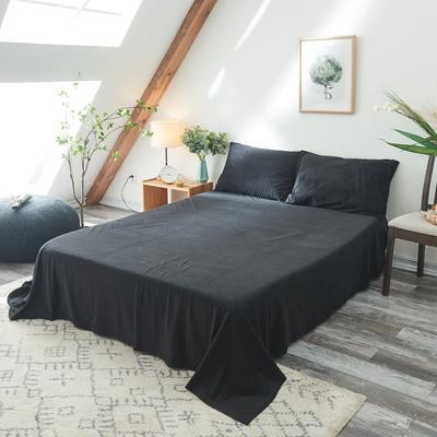 2019新款-北欧无印良品天鹅绒单品床单 160cmx230cm 纯   黑(14号)