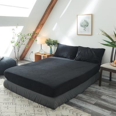 2019新款-北欧无印良品天鹅绒单品床笠 120cmx200cm 纯   黑(14号)