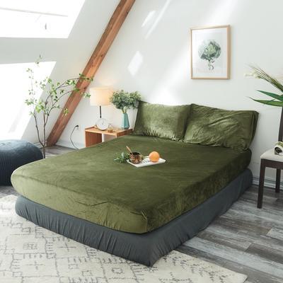 2019新款-北欧无印良品天鹅绒单品床笠 120cmx200cm 墨   绿(9号)